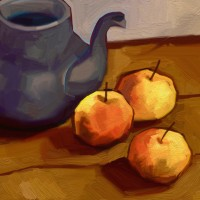 Teapot And Three Apples